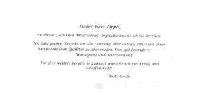 Glückwunschschreiben vom Bundestag